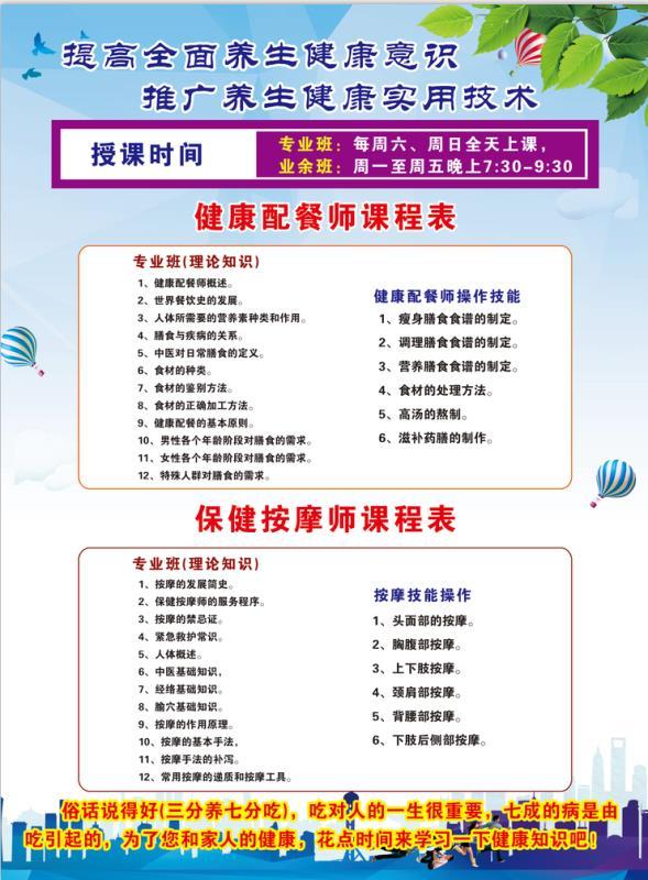 山东省科学养生协会《健康配餐师》《保健按摩师》招生简章(图2)